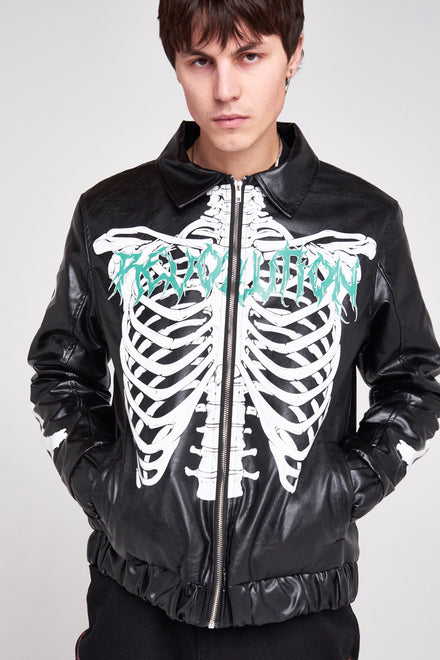 Skeleton Print PU Jacket