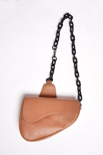 Tan Vegan Leather Saddle Bag