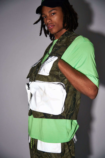 Camo Print Utility Vest With Reflective Pocket Detail
