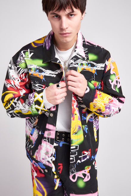 Black Graffiti Print Denim Jacket