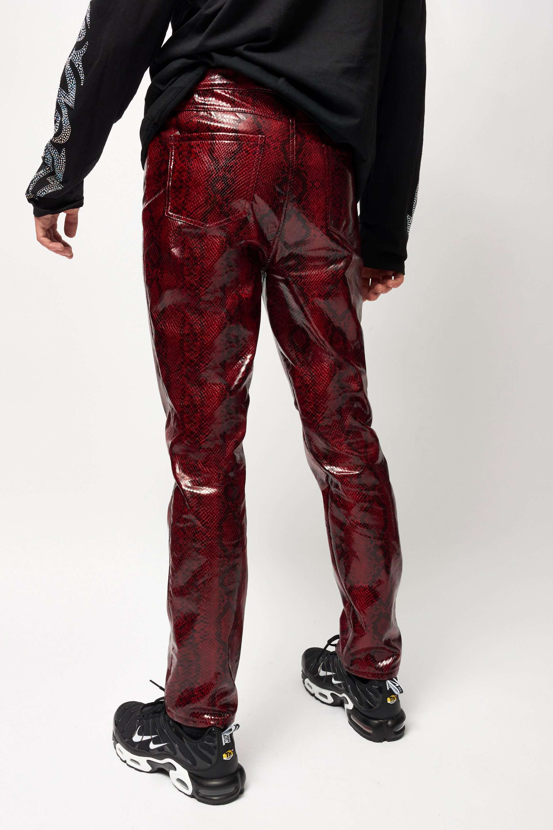 Red PU Snake Trousers