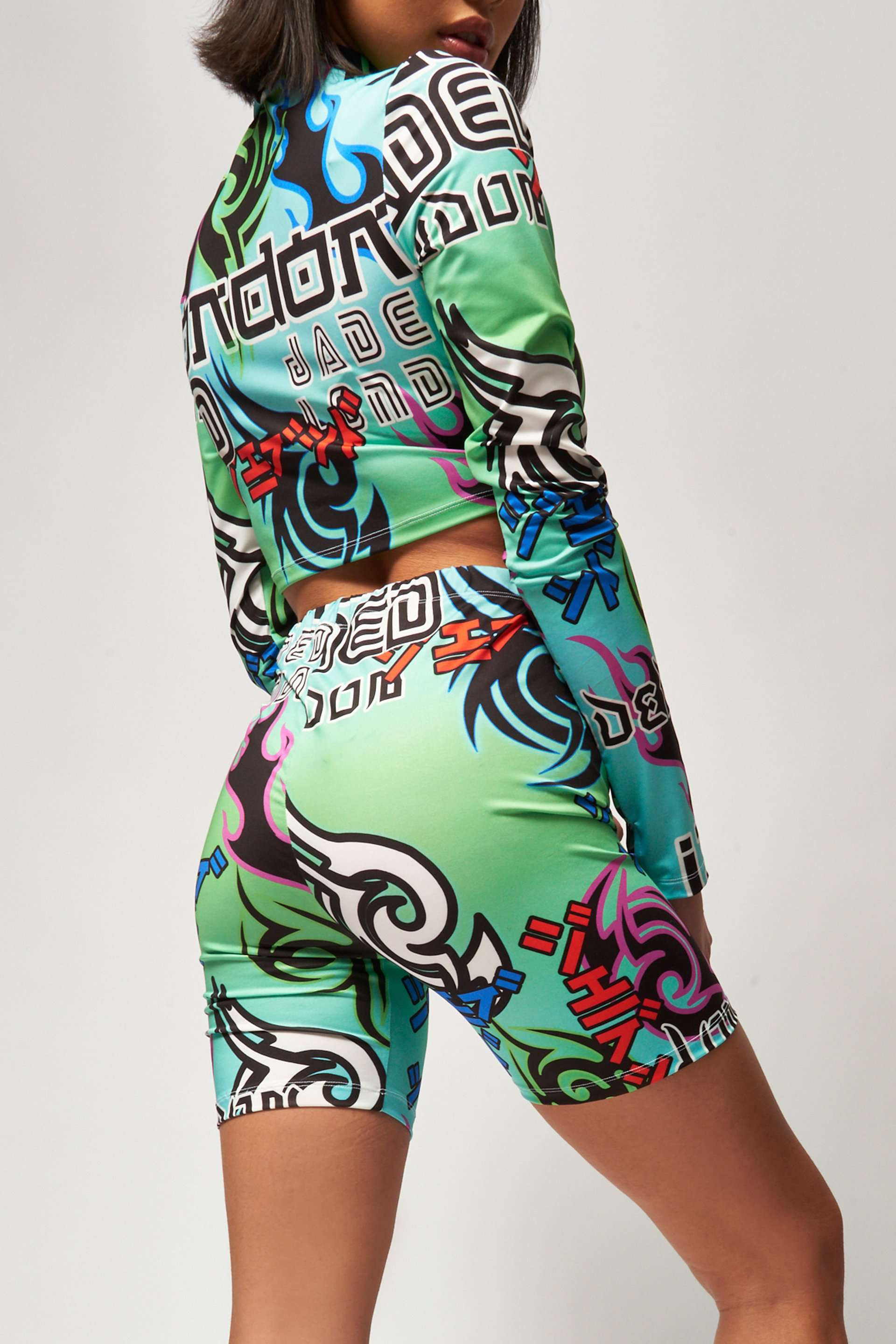 Multicoloured Tribal Print Cycling Shorts