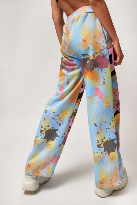 Graffiti Print Wide Leg Sweatpants