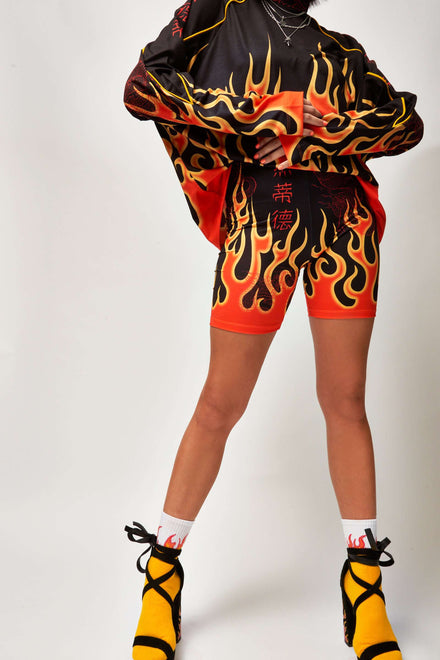 Flame Print Cycling Shorts