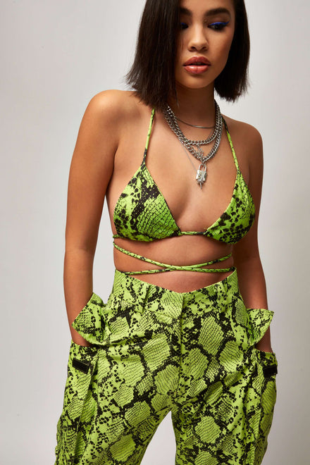 Neon Green Snake Print Triangle Top