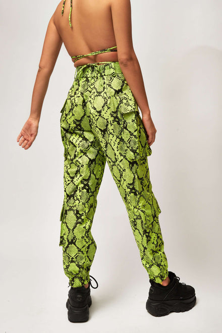 Neon Green Snake Print Combat Trousers