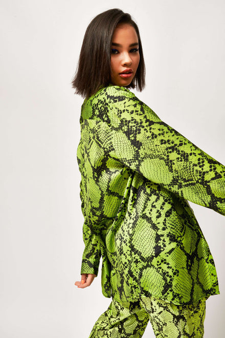 Green Snake Print Oversized Shirt
