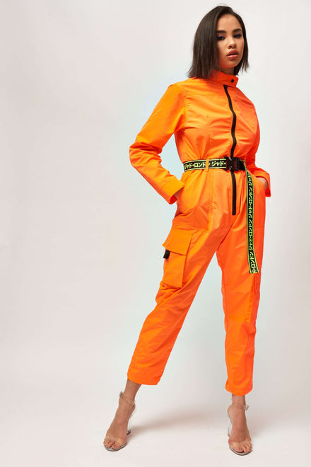 Neon Orange Nylon Boilersuit With Industrial Belt