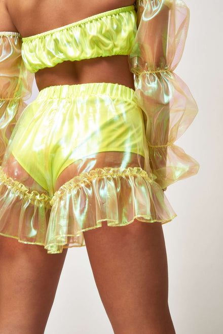 Neon Yellow Organza Frill Edge Shorts