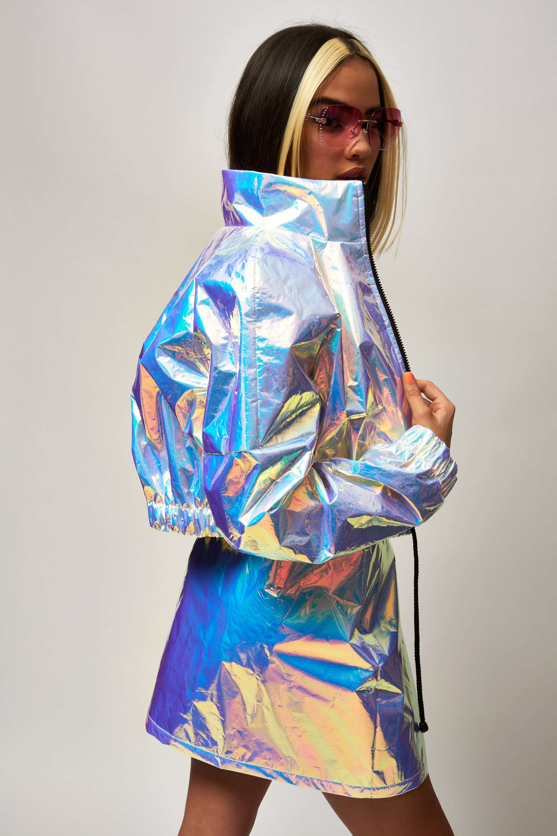 Blue Crinkle Foil Shell Suit Jacket