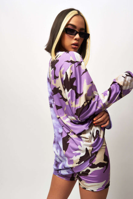 Half Camo Half Tie Dye Long Sleeve T-shirt Dress