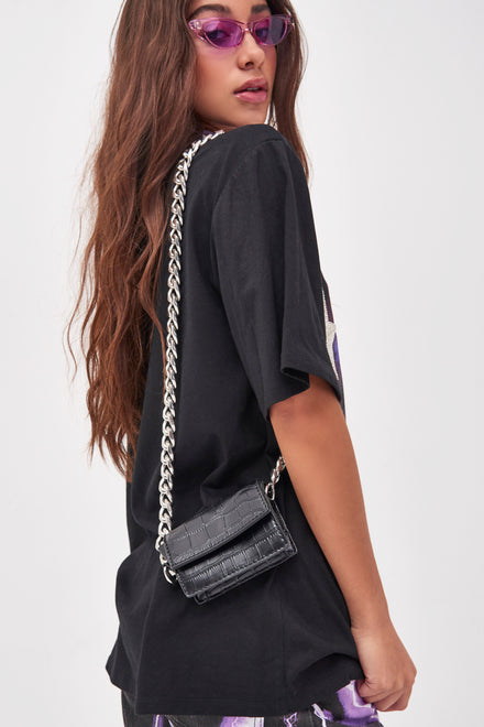 Mini Black Croc Bag With Chunky Chain