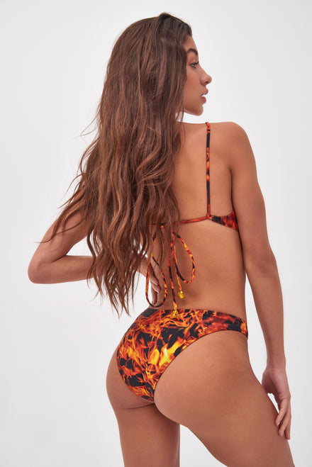 Flame Print Tie Back Crop Bikini Top