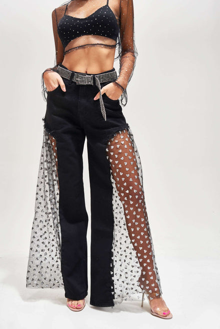 Wide Leg Jeans with Black Glitter Heart Mesh Outer Leg
