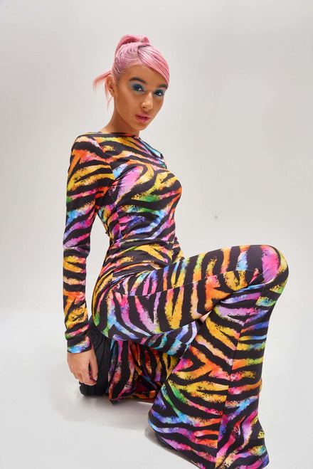 Rainbow Zebra Flared Leg Catsuit