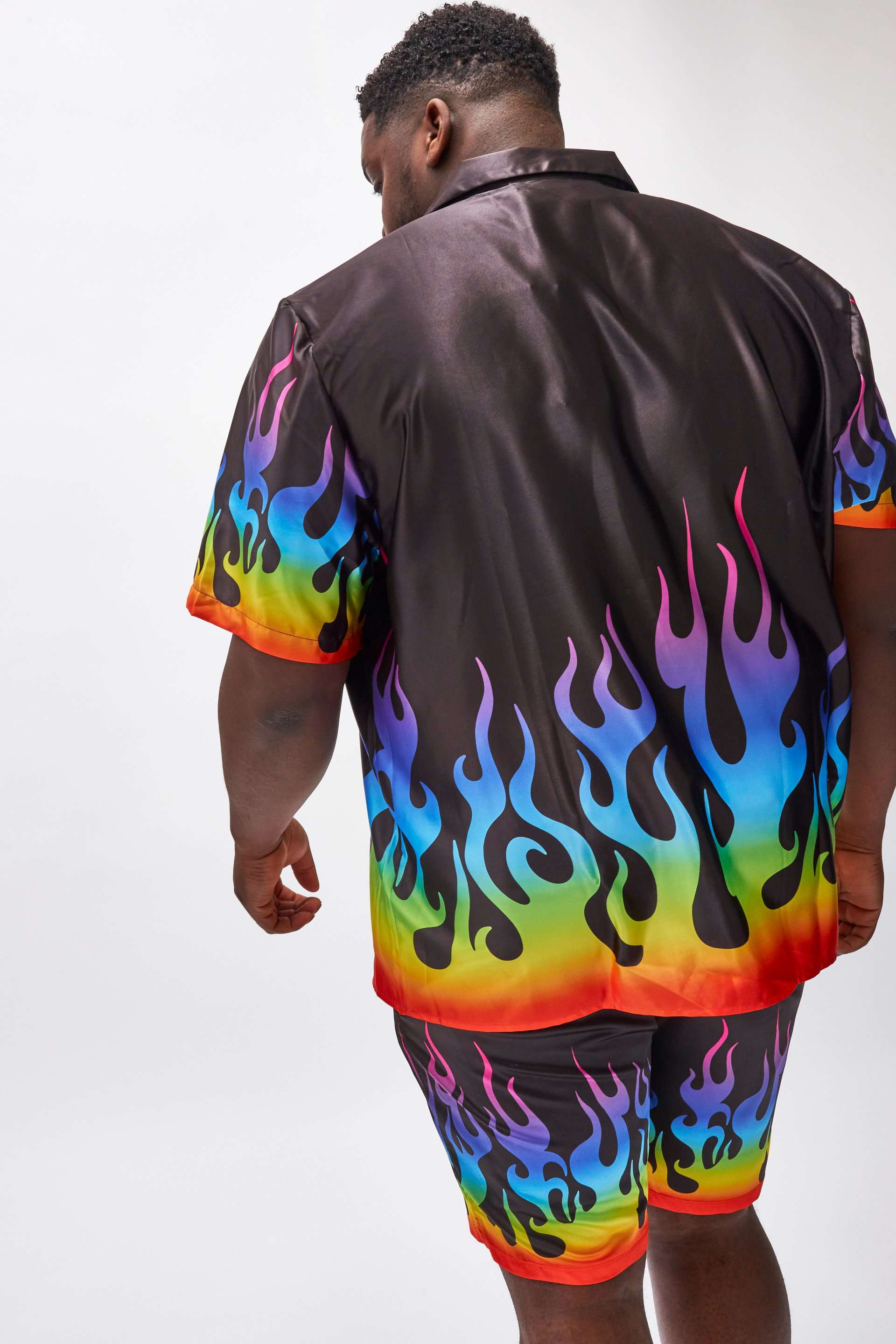 Extra Rainbow Flame Print Short Sleeve Shirt