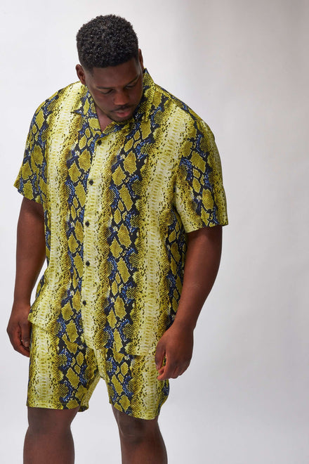 Extra Yellow & Blue Snake Print Short Sleeve Shirt