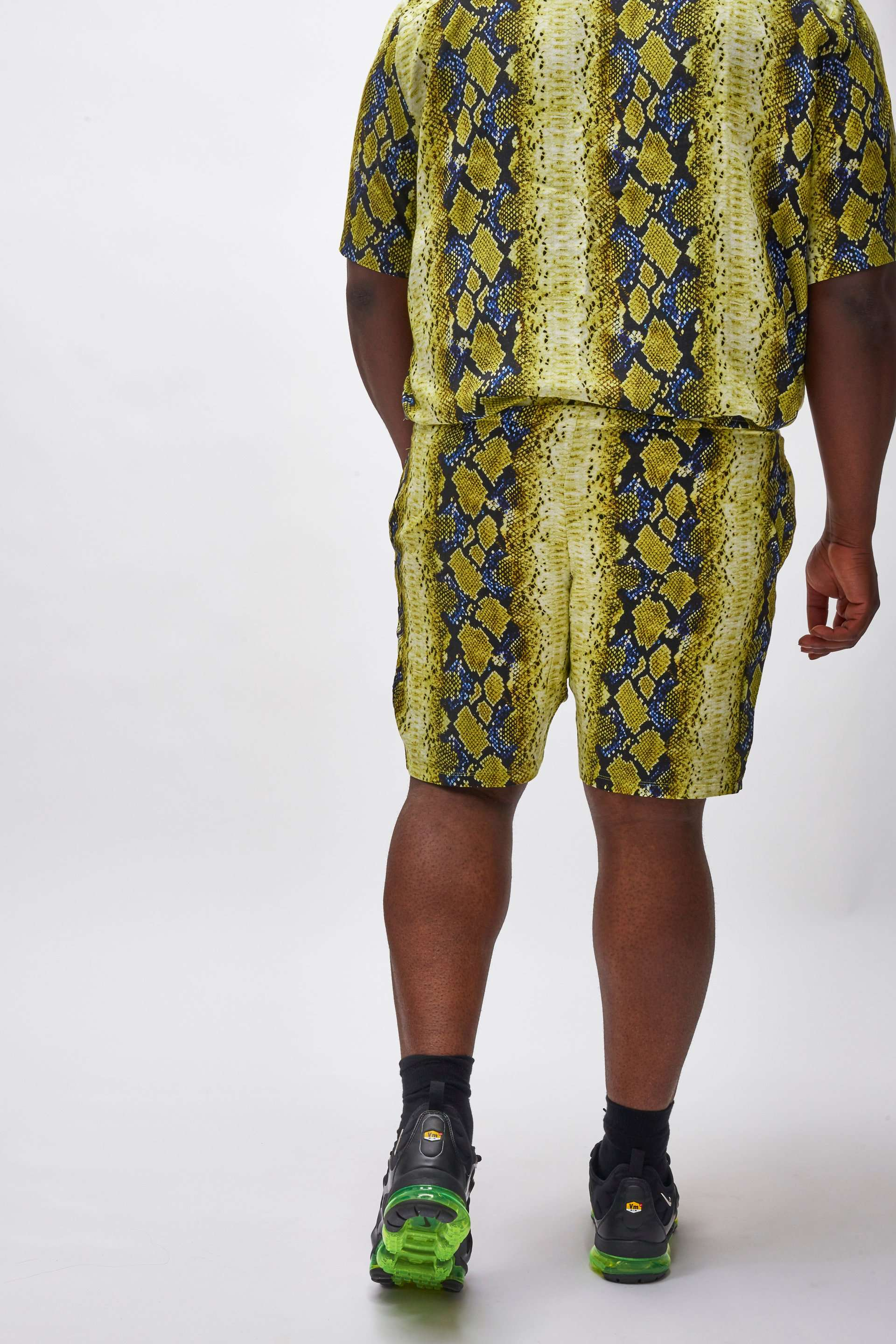 Extra Yellow & Blue Snake Print Shorts