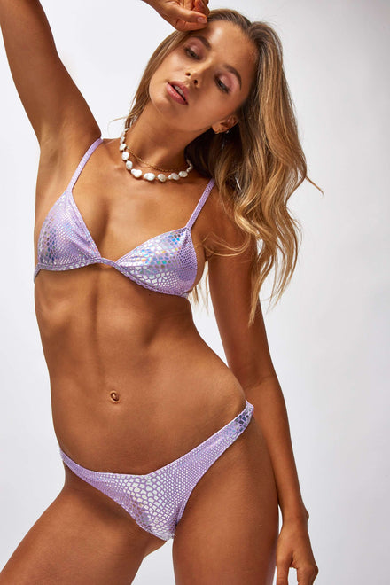 Lilac Hologram Snake Triangle Bikini Top