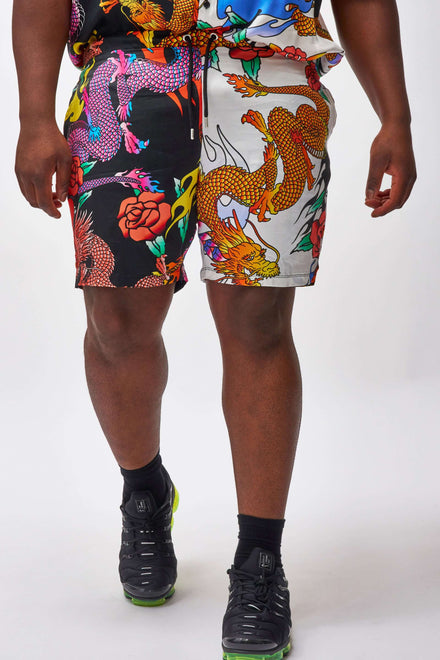 Extra Half And Half Dragon Print Shorts