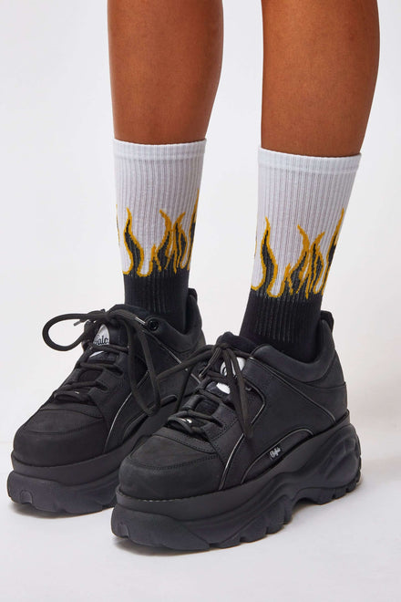 Yellow & Black Flame Socks