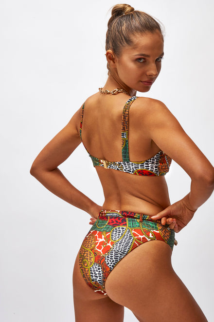 Animal Clash Print High Waist Bikini Bottoms