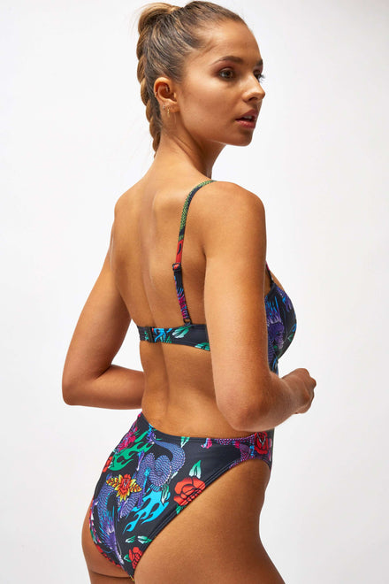 Dragon Print Extreme Cup Detail Swimsuit