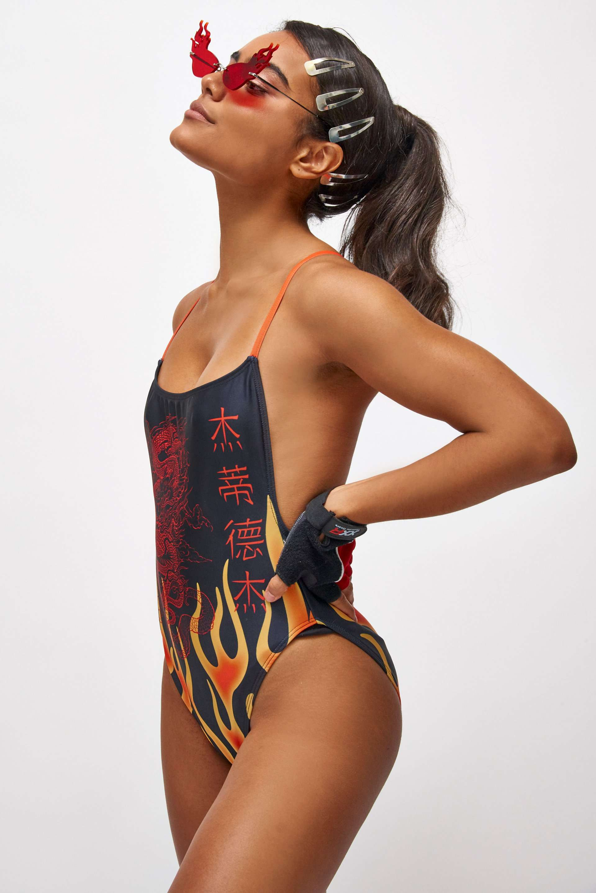 Red Flame Print Square Neck Swimsuit