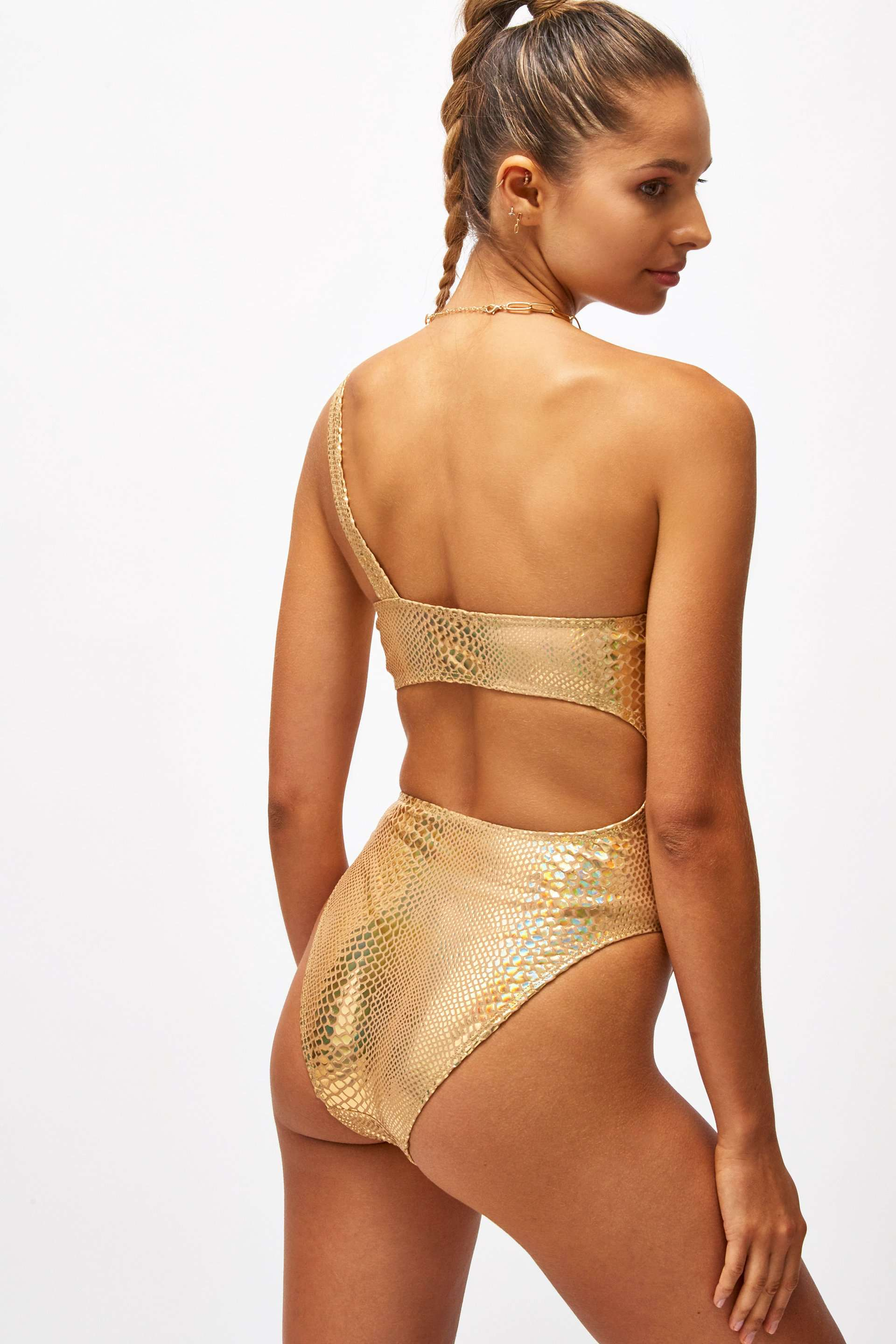 Gold Snake Foil One Shoulder Cut Out Swimsuit