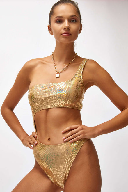 9ea9cb5068 Gold Snake Foil One Shoulder Cut Out Swimsuit ...