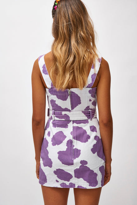 Lilac Cow Print Denim Mini Dress