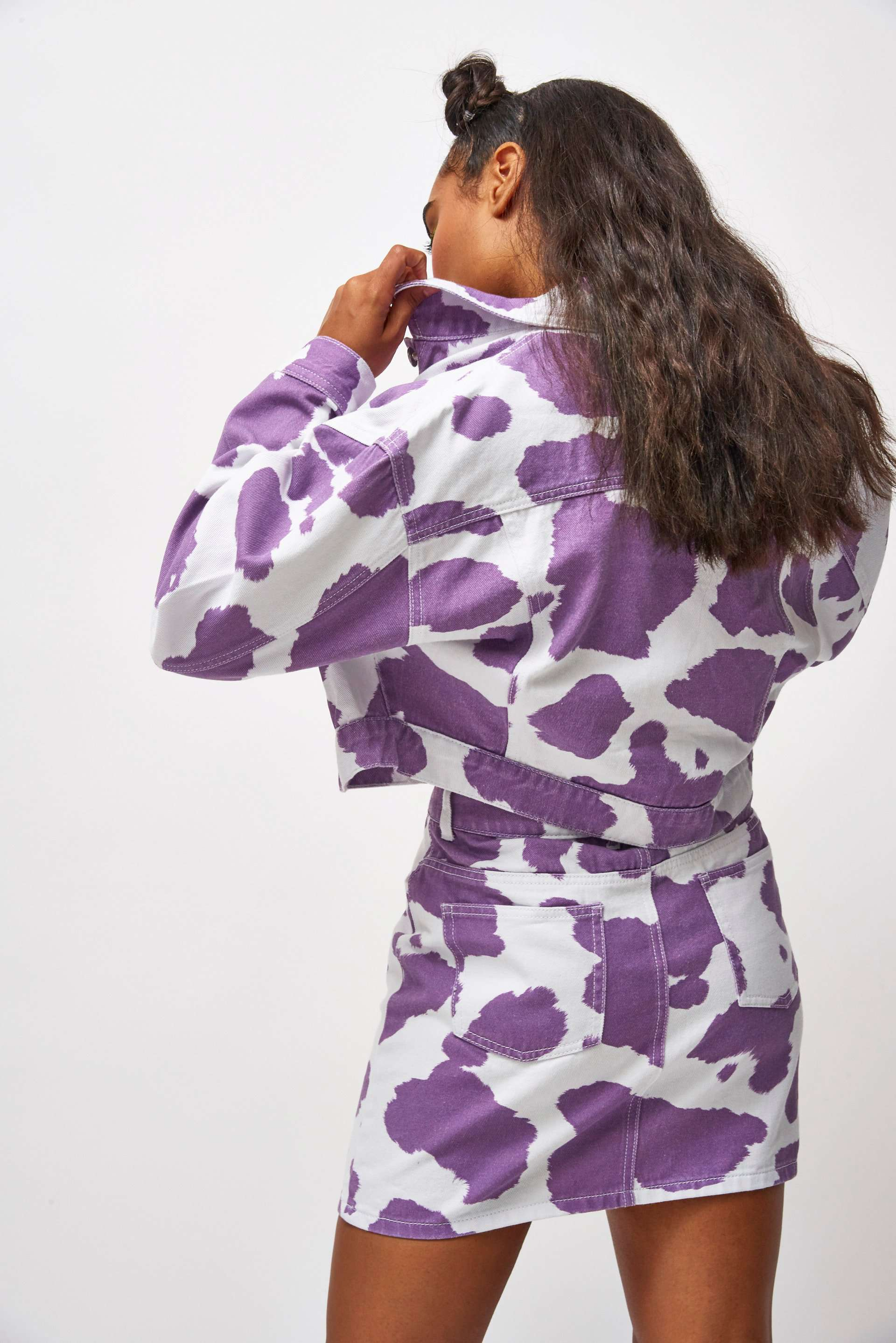 Lilac Cow Print Denim Jacket