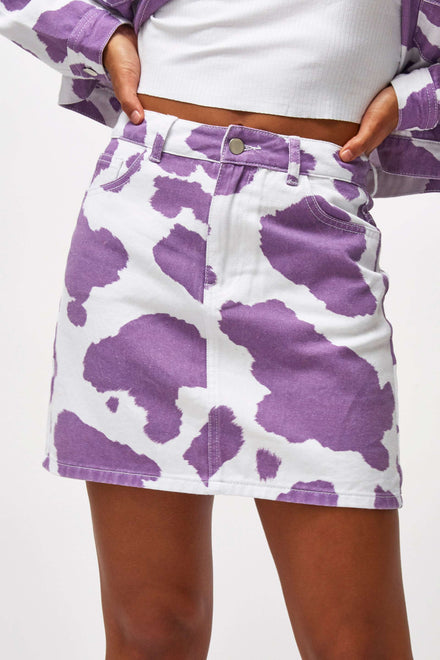 Lilac Cow Print Denim Mini Skirt