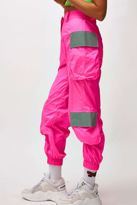 Neon Pink Oversized Cargo Trousers With Reflective Detail