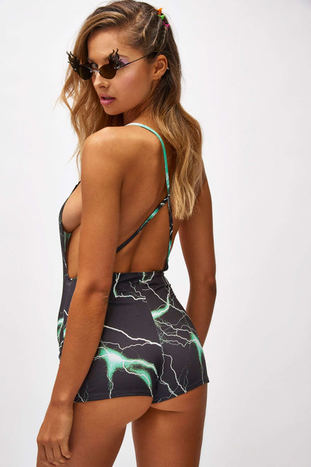 Green Lightning Print Cycling Short Playsuit