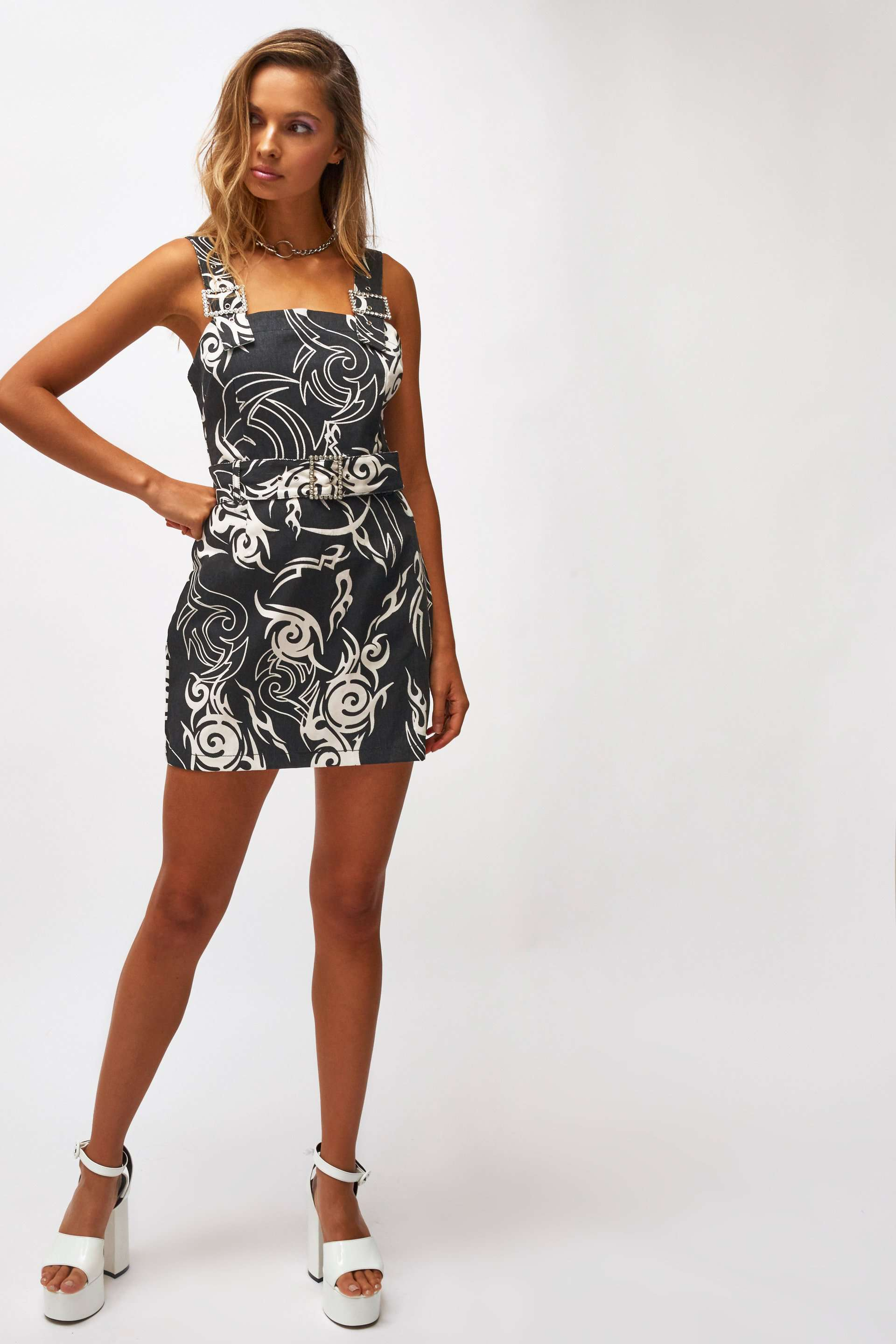 Tribal Print Denim Mini Dress