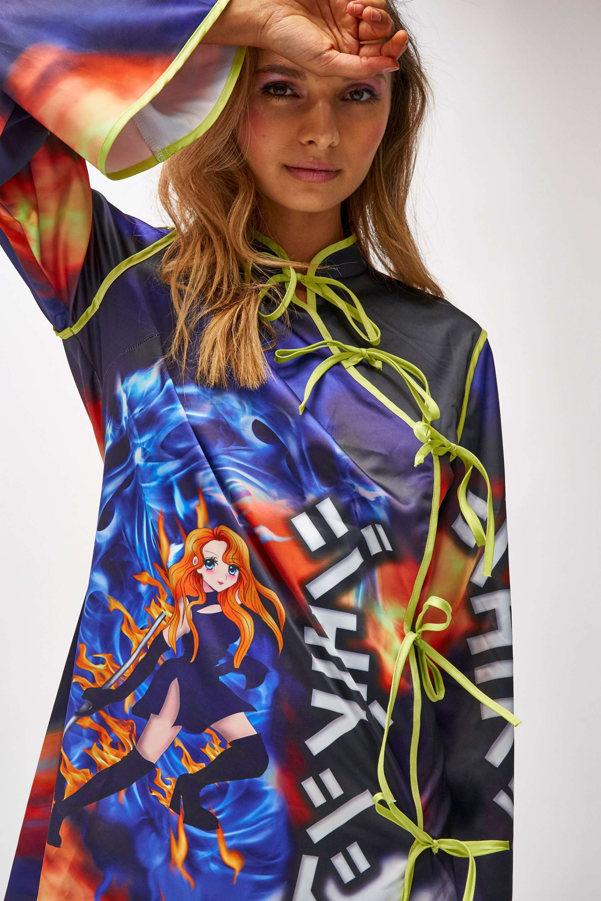 Tokyo Anime Print Wrap Over Satin Mini Dress