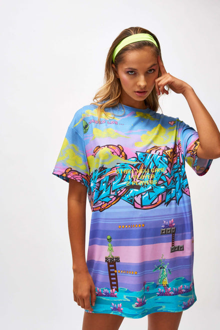 Jaded Video Game Printed Oversized T-shirt Dress
