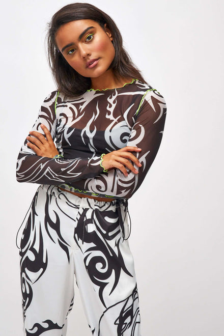 Tribal Print Mesh Top