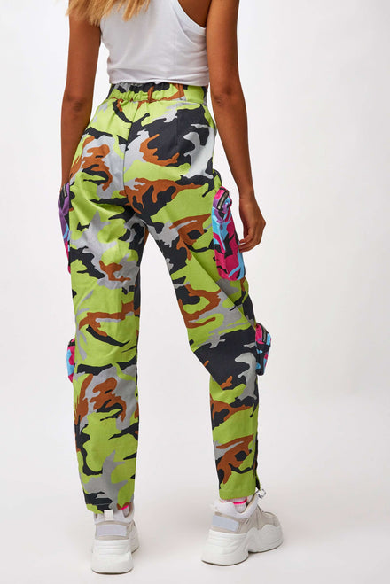 Camo Print Denim Cargo Pants