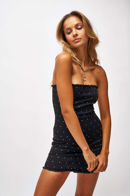 Black Denim Dress With All Over Diamante