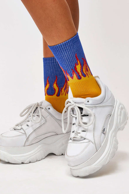Blue & Yellow Flame Socks