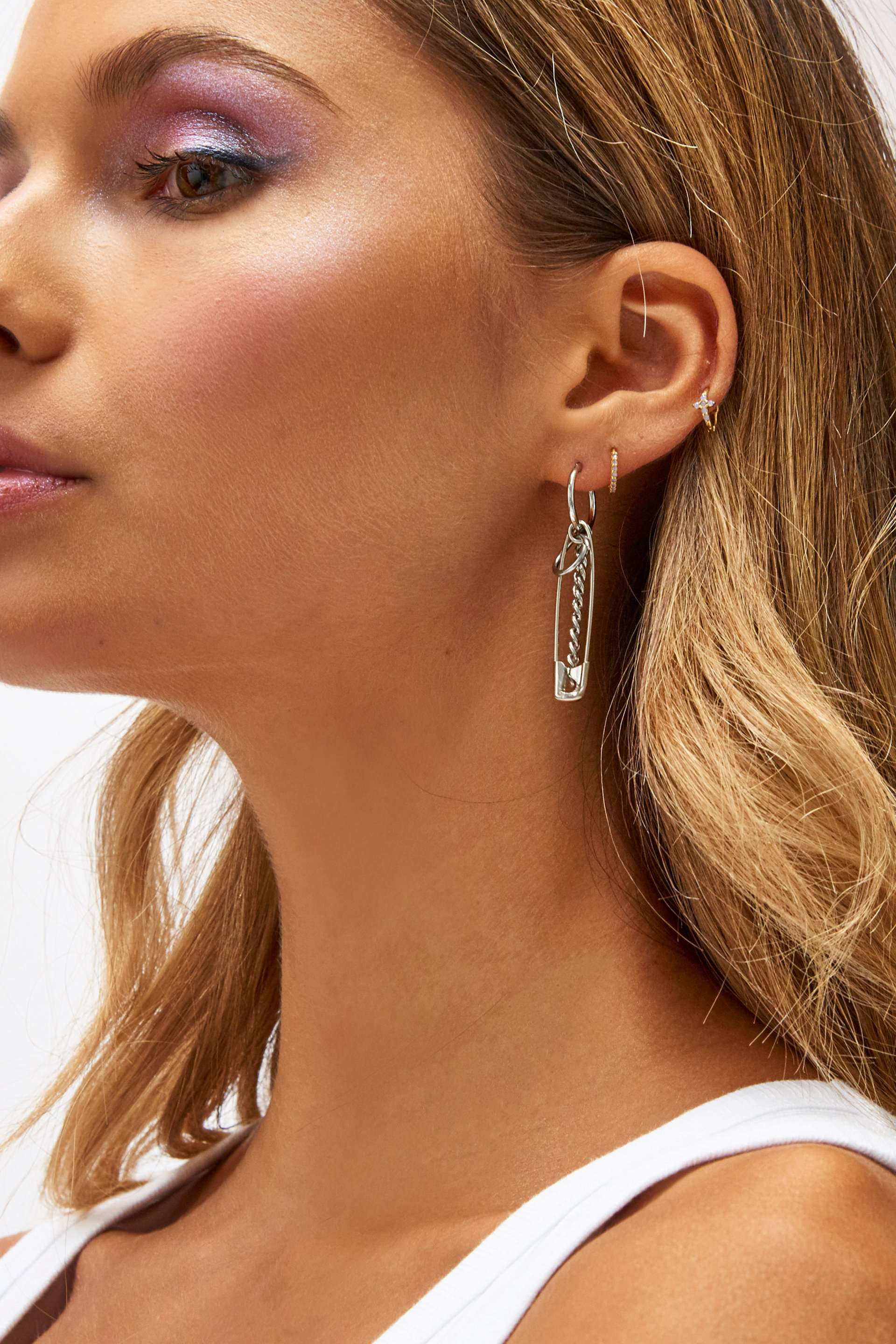 Silver Safety Pin Single Earring