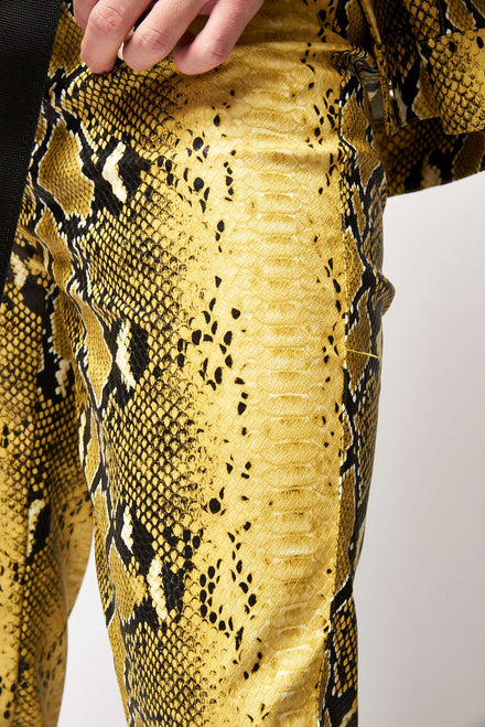 Pu Snakeskin Yellow Trousers