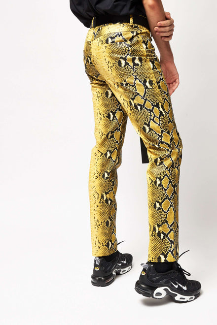 Pu Snake Print Yellow Trousers