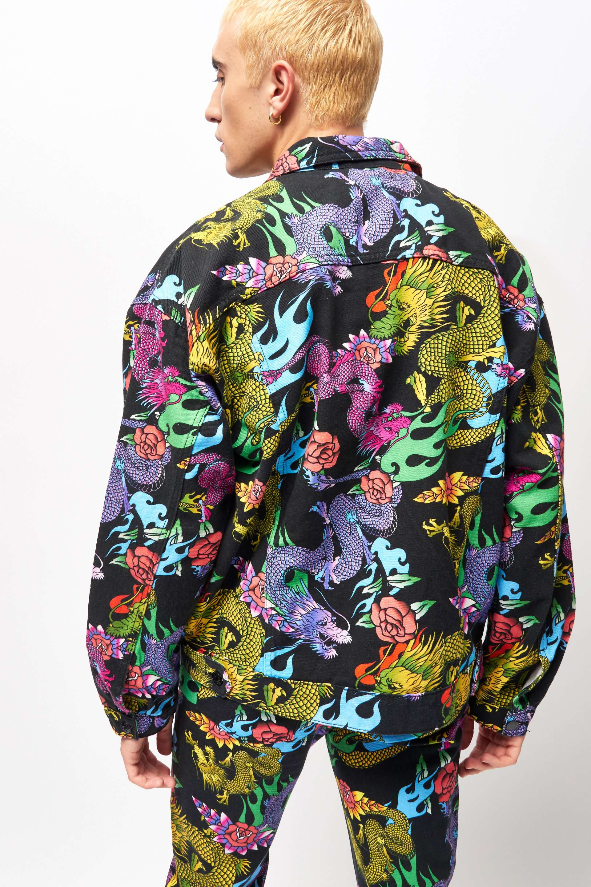 Dragon & Flame Print Denim Jacket