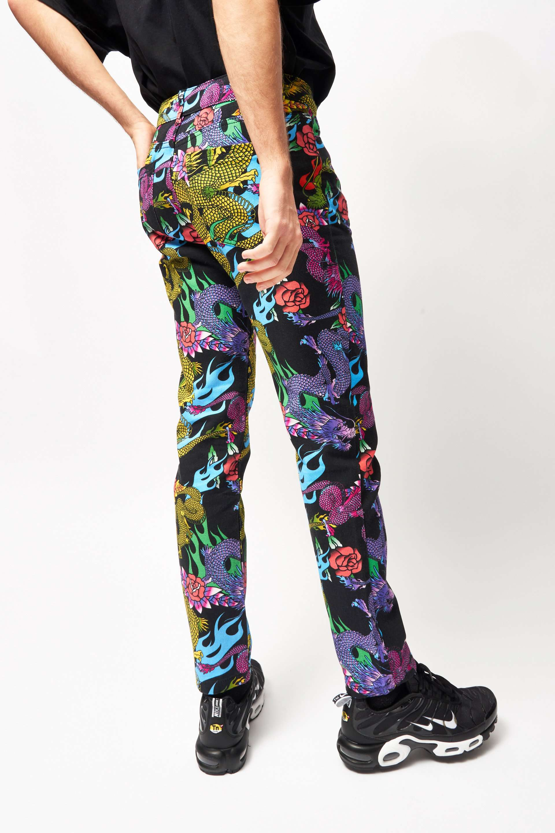 Dragon & Flame Print Jeans