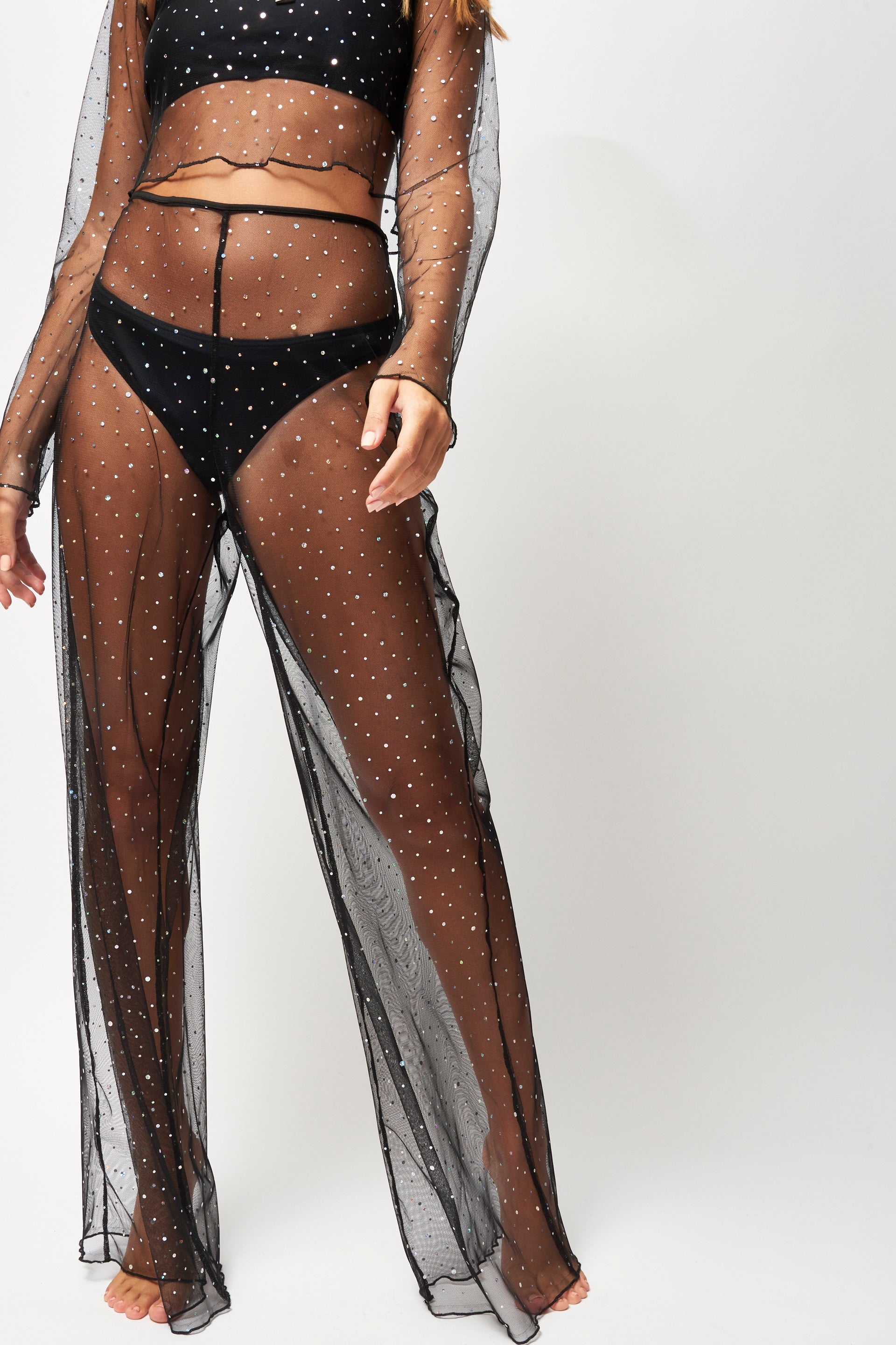 Diamante Mesh Beach Trousers