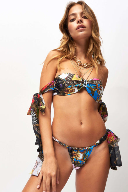 Scarf Print Clash Bandeau Bikini Top With Tie Up Sleeves