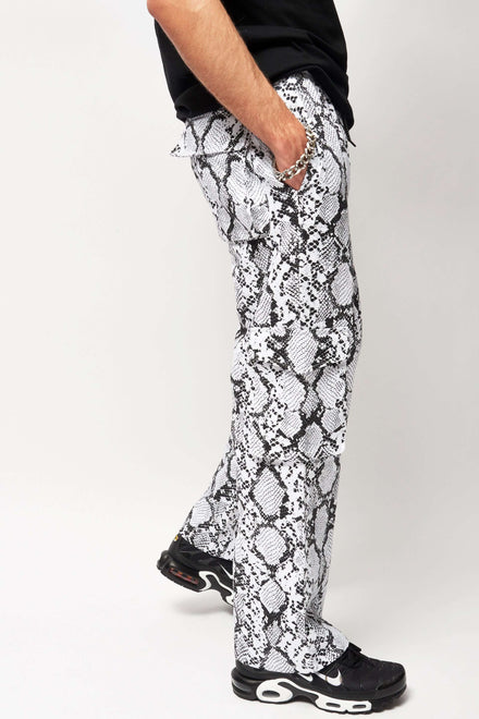 Black and White Snake Print Cargo Trousers